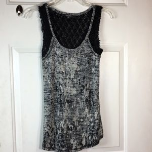 Miss Me knitted black and gray silver metallic top